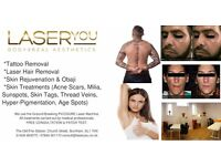 Tattoo Removal, Laser Hair Removal, Acne Scars, Lesions, Sunspots by Insured Medical Professionals