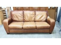 Brown Leather 3 Seater Sofa No220414