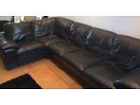 Leather L-shape 6 seater sofa