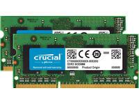 RAM card: Crucial 8 GB Kit (4 GBx2) (DDR3L) Memory