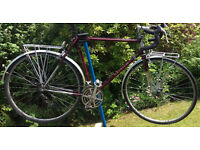 "Raleigh Classic 15 Touring Bike with panniers, 22.5"" frame, Reynolds 531st tubing, Brooks B17 saddle"