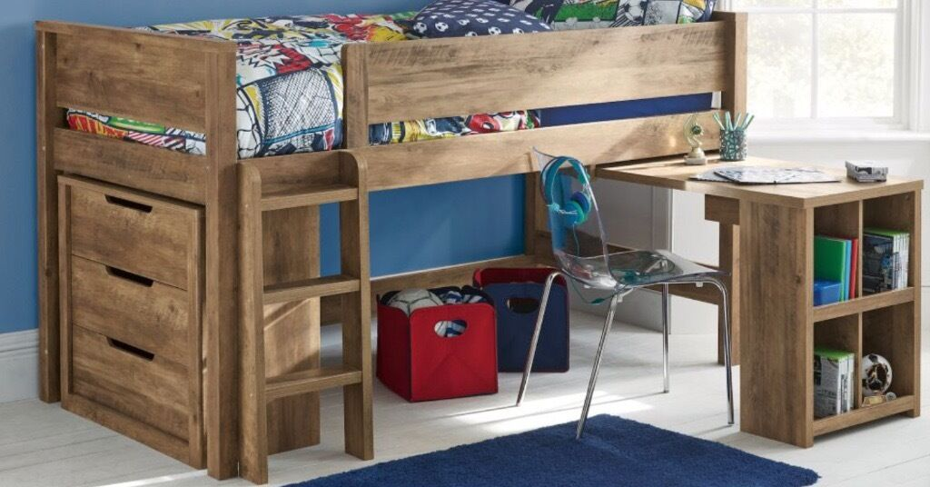 Next Midi Sleeper Bed And Pull Out Desk Bookshelf DRAWERS