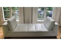 Ligne Roset white leather sofas (pair)