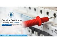 ELECTRICAL CERTIFICATE / LANDLORD SAFETY CERTIFICATE FROM ONLY !! £ 90.00 incl taxes