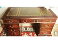 Mahogany leather top pedestal 9 drawer desk with leather chair