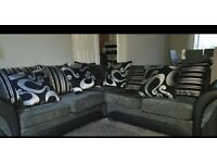Corner Sofa - gray/Black - 5 seater