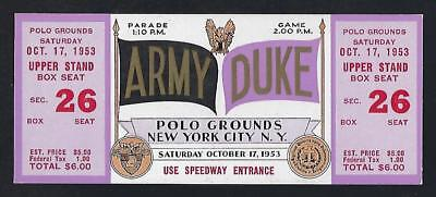 1953 Ncaa Duke Blue Devils V Army Black Knights Full Unused Football Ticket