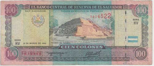 El Salvador banknote P140-6522 100 Colones 12.3.1993/23.12.1994  SERIE HV, FINE