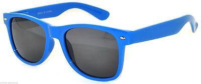 CLASSIC 80s VINTAGE RETRO SMOKE LENS SUNGLASSES SHADES UV400 BLUE FRAME BLUE