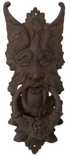 "GARGOYLE DOOR KNOCKER cast iron LARGE 20"" rust brown GREEN MAN CELTIC LEAF metal"