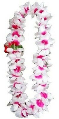 SIX Hawaiian Silk Flower Lei Luau Party Hula Wedding ~ WHITE & PINK QTY 6 LEIS