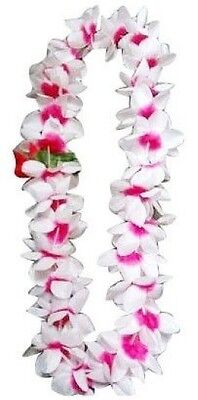 TWO Hawaiian Silk Flower Lei Luau Party Hula Wedding ~ WHITE & PINK QTY 2 LEIS