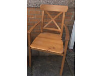 One Ikea Solid Pine Ingolf Arm Chair