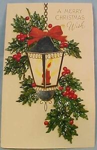 Unusual-Vintage-CHRISTMAS-LANTERN-CARD-w-OVERLAY-HOLLY-LEAVES-BERRIES-Gatto-NY