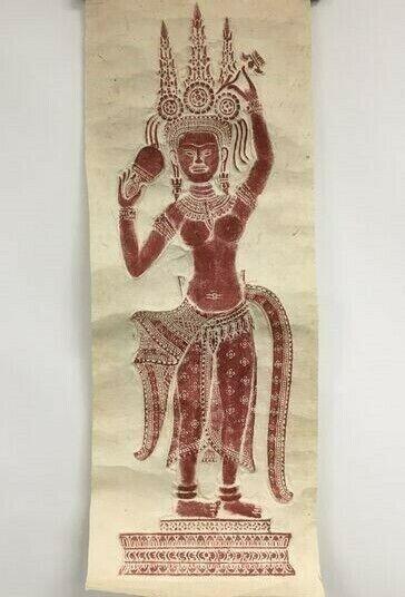 "Apsara Dancer Temple Rubbing from Angkor Wat 30"" X 11""CAMBODIAN DEITY ART"