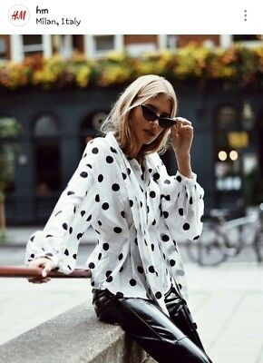 Nwt H M Polka Dots Bow Tie Top Blouse Shirt Bloggers Us 8 Black   White Blogger
