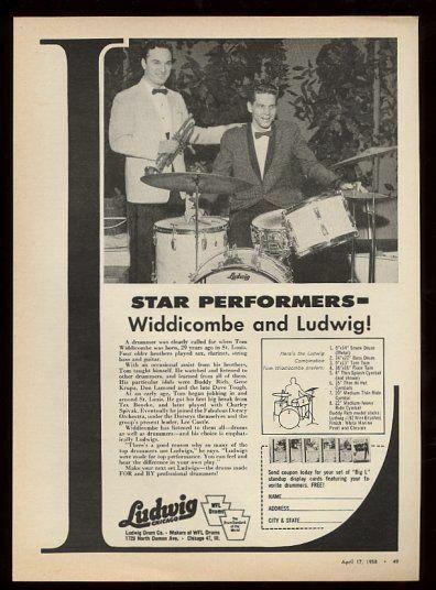 1958 Tom Widdicombe photo Ludwig drum set vintage print ad