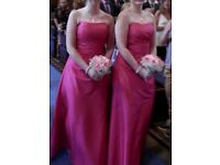 2 x pink, full length beautiful bridesmaid dresses, size 10-12