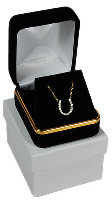 Black Velvet Pendant Necklace Earrings Jewelry Gift Box 1 7/8 X 2 1/8 X 1 1/2