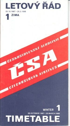 CSA Czechoslovak Airlines timetable 1987/10/25