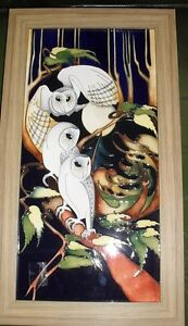 MOORCROFT LOVELY OWL MOONLIGHT FLIGHT PLAQUE BY EMMA BOSSONS LTD EDITION OF 100