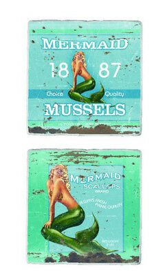 Set of 4 Mermaid Seafood Coasters Drink Bar Mussels Scallops Blue Square Cup