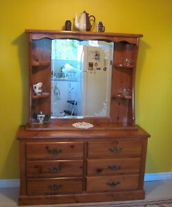Solid hardwood dresser and mirror