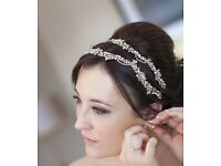 2 x stunning gold, pearl and crystal leaf hair ribbon - wedding