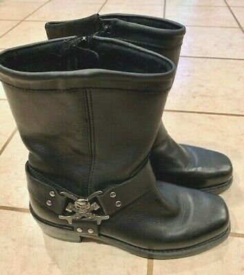 MOTORCYCLE WOMENS ZIPPER BLACK LEATHER HARNESS BOOT SIZE 9.5