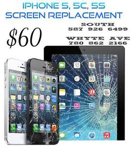 IPHONE SCREEN REPLACEMENT 5, 5C, 5S $60 IPHONE 6 $90