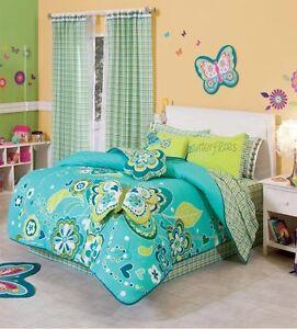 aqua green butterflies teen girl full queen amp twin size reversible comforter set ebay. Black Bedroom Furniture Sets. Home Design Ideas