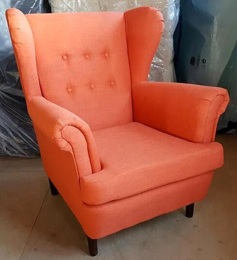 Brand New Martha Fabric Wingback Chair Burnt Orange Can Deliver