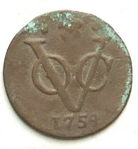 1754 New York Penny VOC 1/8 RARE SIZE DORDRECHT MINT DUTCH EAST INDIES TREASURE