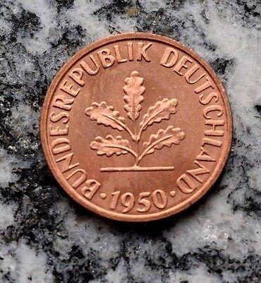 1 Pfennig 1950 J Kursmünze Bundesrepublik Deutschland - Top Prägefrisch !