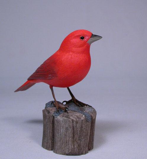 Summer Tanager Backyard Bird Carving/Birdhug