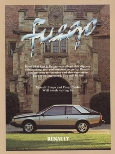 1982 Renault Fuego Sales Brochure Road Test