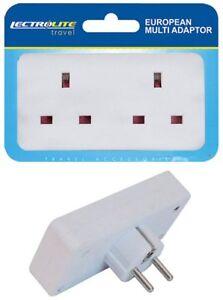 2 Way European Travel Electrical Socket Adaptor Eu 2 pin to Double UK 3 pin New