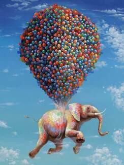 Elephant Print Canvas Art Painting  90x120x3cm