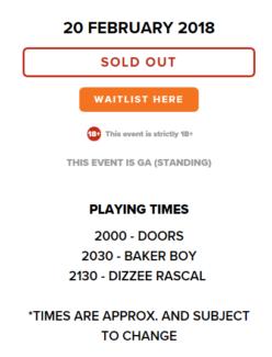 2 x Dizzee Rascal Baker Boy Tickets Melbourne Forum 20th February