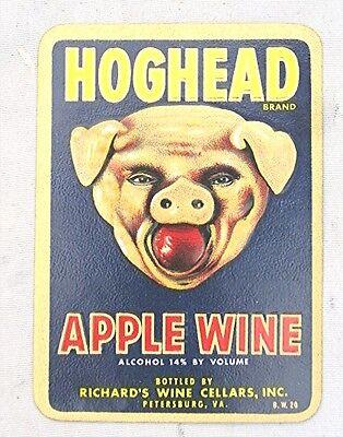 Vintage Hoghead Apple Wine Label --- New Old Stock