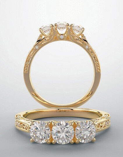 1.20 carat 3 Stone Round Diamond GIA E IF clarity Wedding Ring 14k Yellow Gold