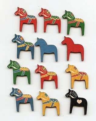Scandinavian Swedish Wooden Dala Horses ~ Bag of 12 assorted colors #EL750