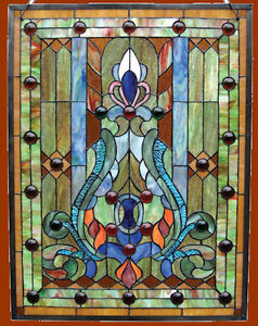 Tiffany Style Stained Cut Glass & Cabochons Victorian Design Window Panel