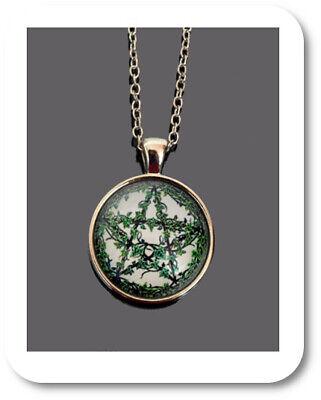 Pentagrama Cabujón Collar Wicca Bruja Colgante Cadena Vid Hierba Verde