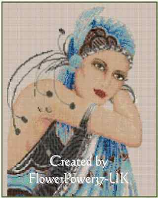 Art Deco Lady in Blue Dress Counted Cross Stitch Chart No. 1-10a