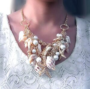 "Collier ""Kitch"" de Plage Coquillages Perles Étoiles Ton OR GGG"