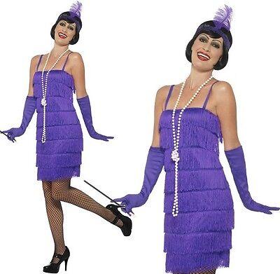 Damen 20er Flapper Schicke Verkleidung Kostüm & Handschuhe Charleston S-XXL - Lila Flapper Kostüm