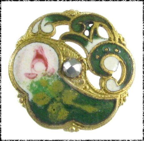 Antique Enamel Button - Green Swirls w/ White, Pink Stylized Flower, Cut Steel