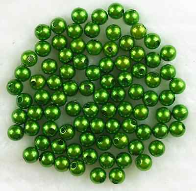 100Pcs 8mm Green Acrylic Round Pearl Spacer Loose Beads