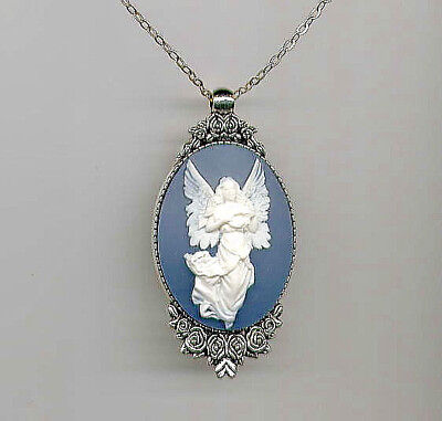 Beautiful Antique Silver GUARDIAN ANGEL Ivory Wings Blue CAMEO Pendant Necklace - Guardian Angel Necklace